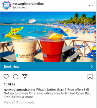 Norwegian Cruise Lines facebook ad