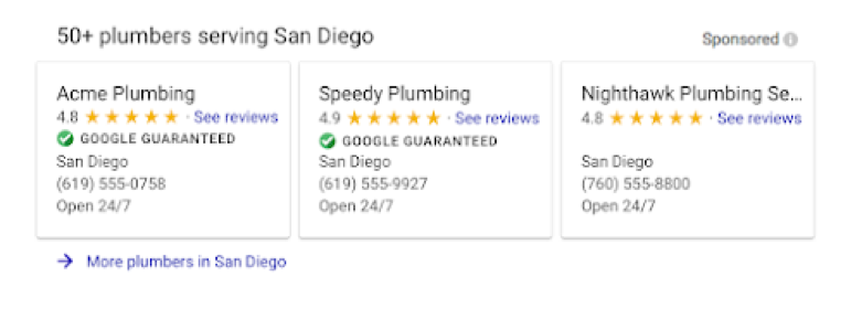 plumbers serving san diego listings screenshot