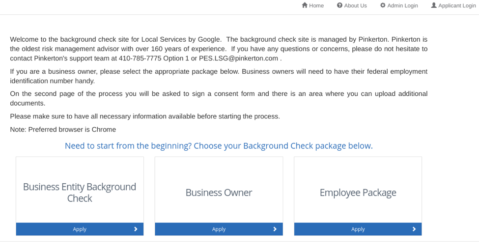 Google LSA sign up process screenshot