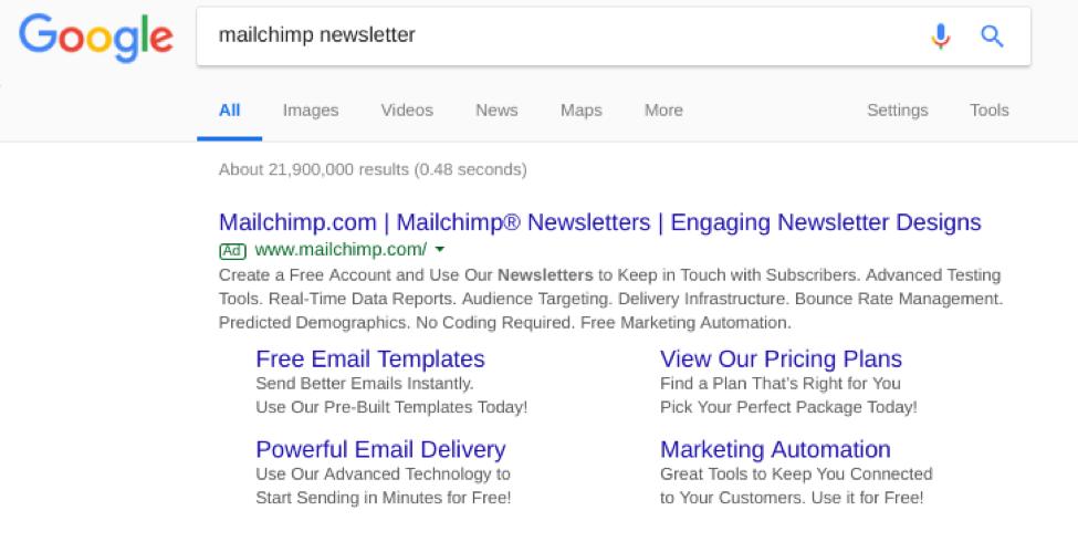 google serp mailchimp search
