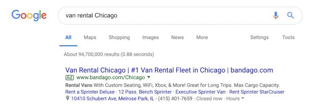 Google ads search result example