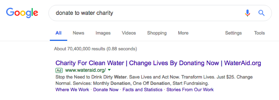 google serps wateraid example