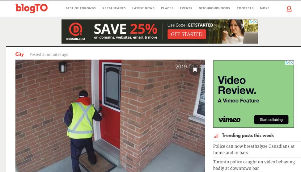 blogTO retargeting ads screenshot