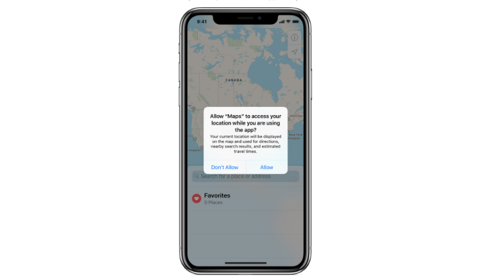 allow maps to access location pop up on mobile