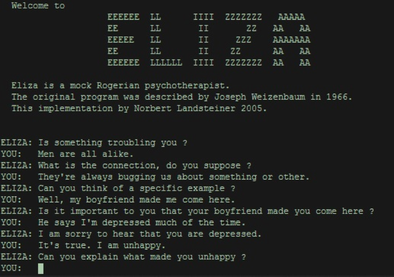 eliza chatbot screenshot