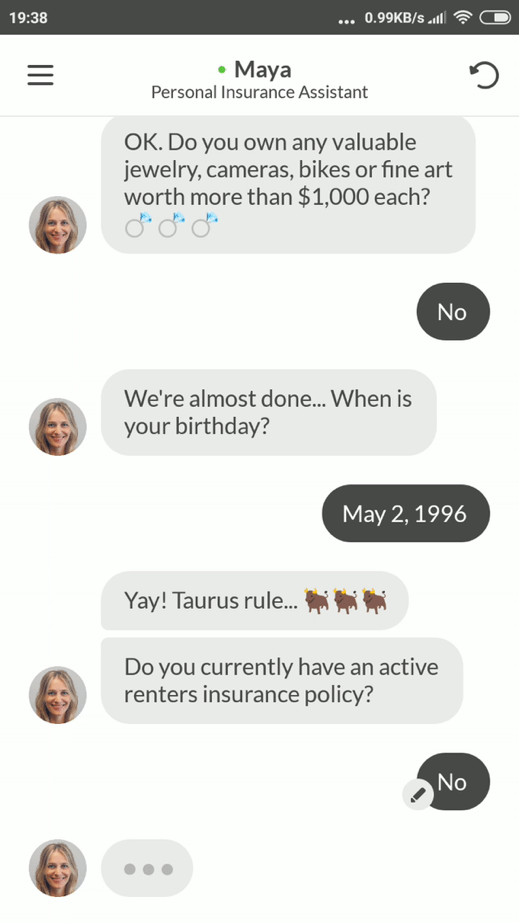 maya chatbot conversation screenshot