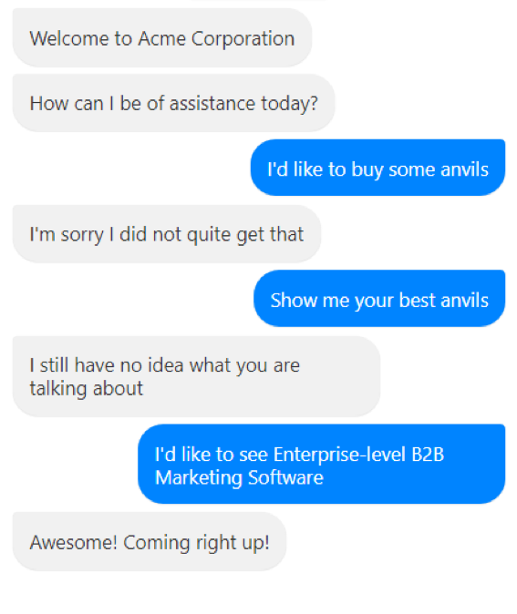 acme corporation chatbot conversation example