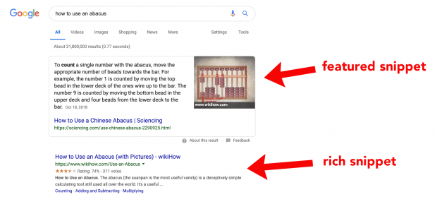 example of a featured snippet versus a rich snippet