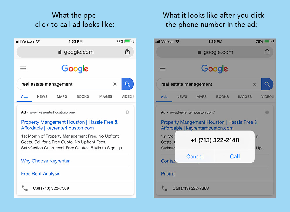 An example of a click-to-call ppc advertisement