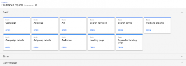 There are pre-formatted reports for Google AMP display ads and AMP landing pages.