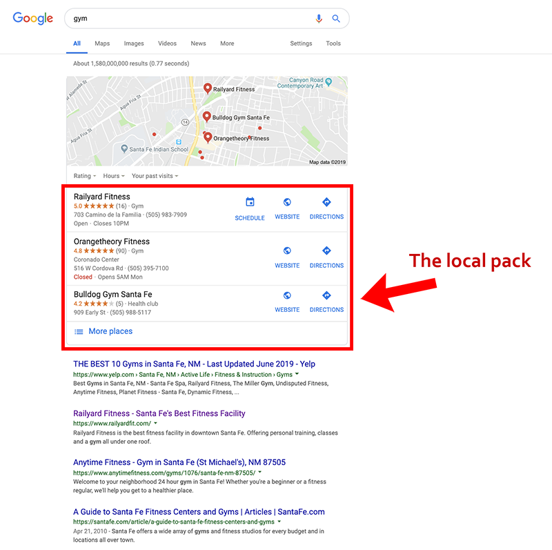 The local pack is one way for local business listings to appear in search results. It's a thing to understand if you want to know how to do local SEO.