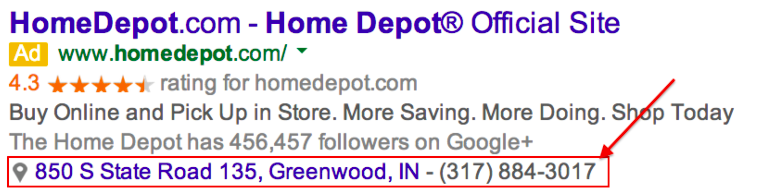 Example ad extension. This is an excellent way to use Google Ads for local businesses