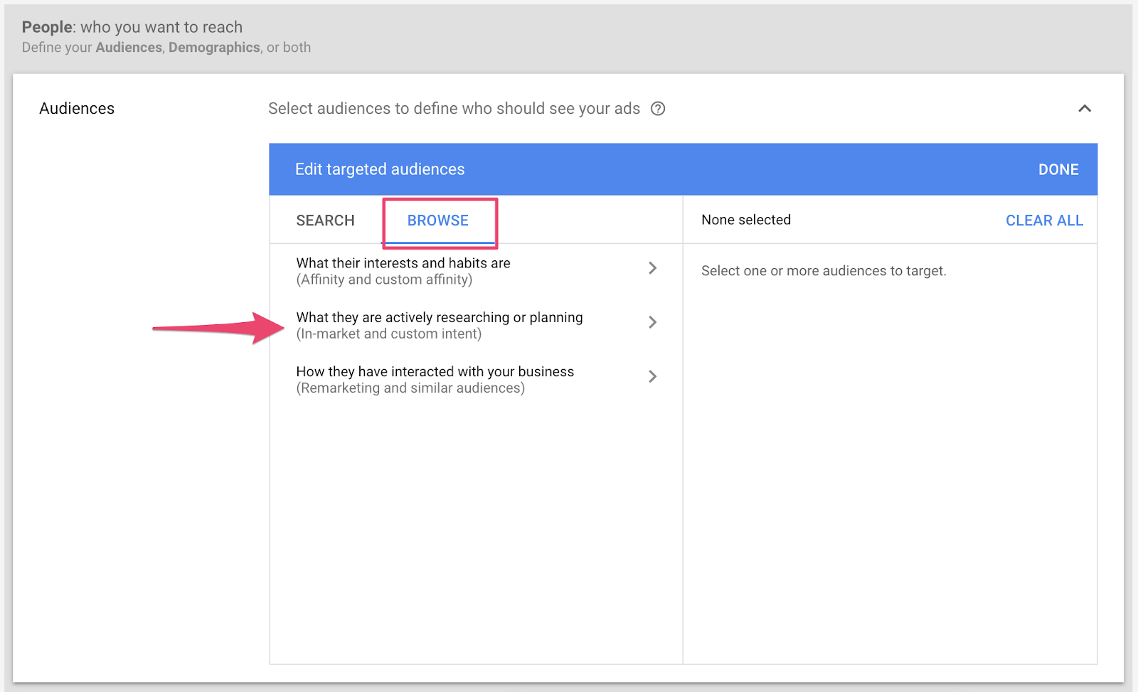 In-Market Audiences - Selecting from Google Ads