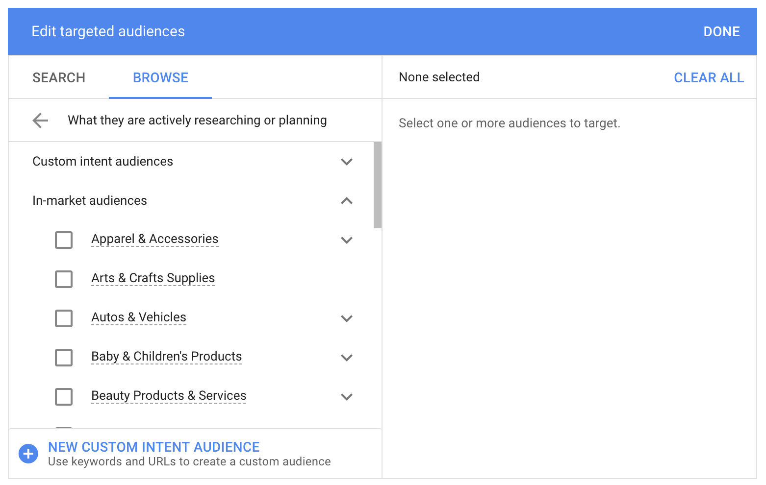 In-Market Audiences - List of Verticals