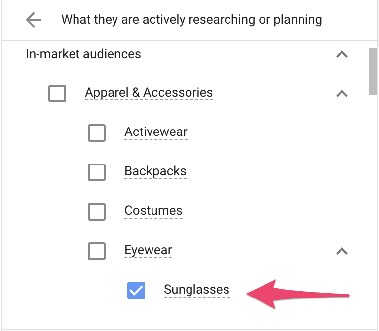 In-Market Audiences - Selecting Sub-Category