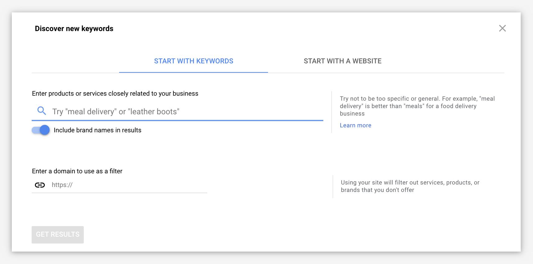 Google Ads keyword planner research via url