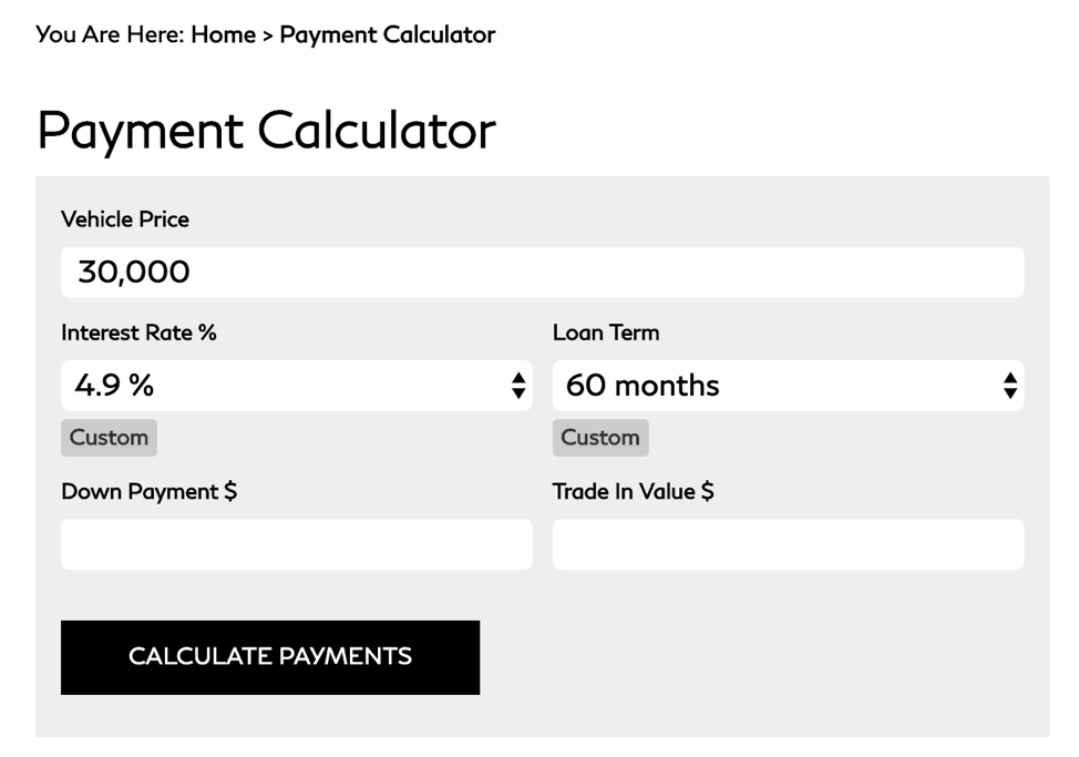 Payment calculator created by a dealership