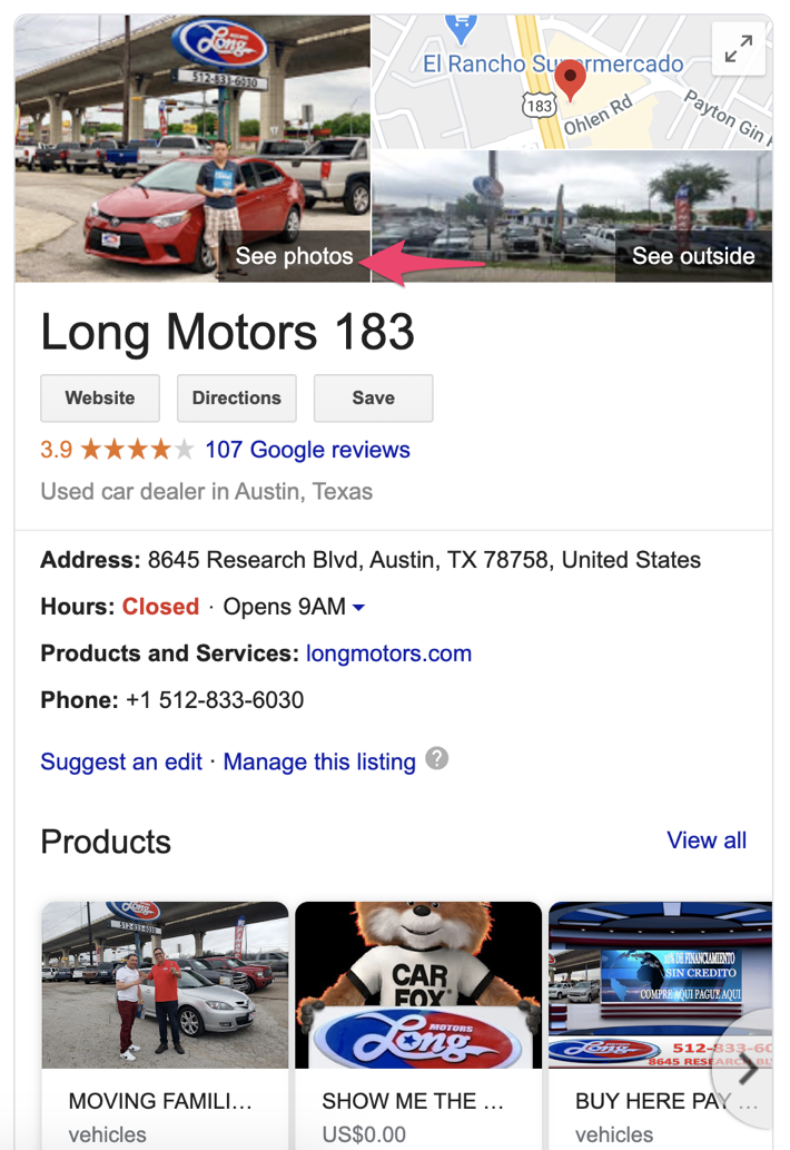 Example of a dealership's Google My Business listing
