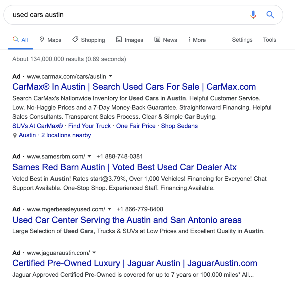 Organic SERP results when searching for used cars