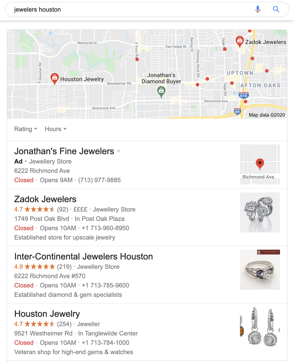 Google Maps example listing dealerships