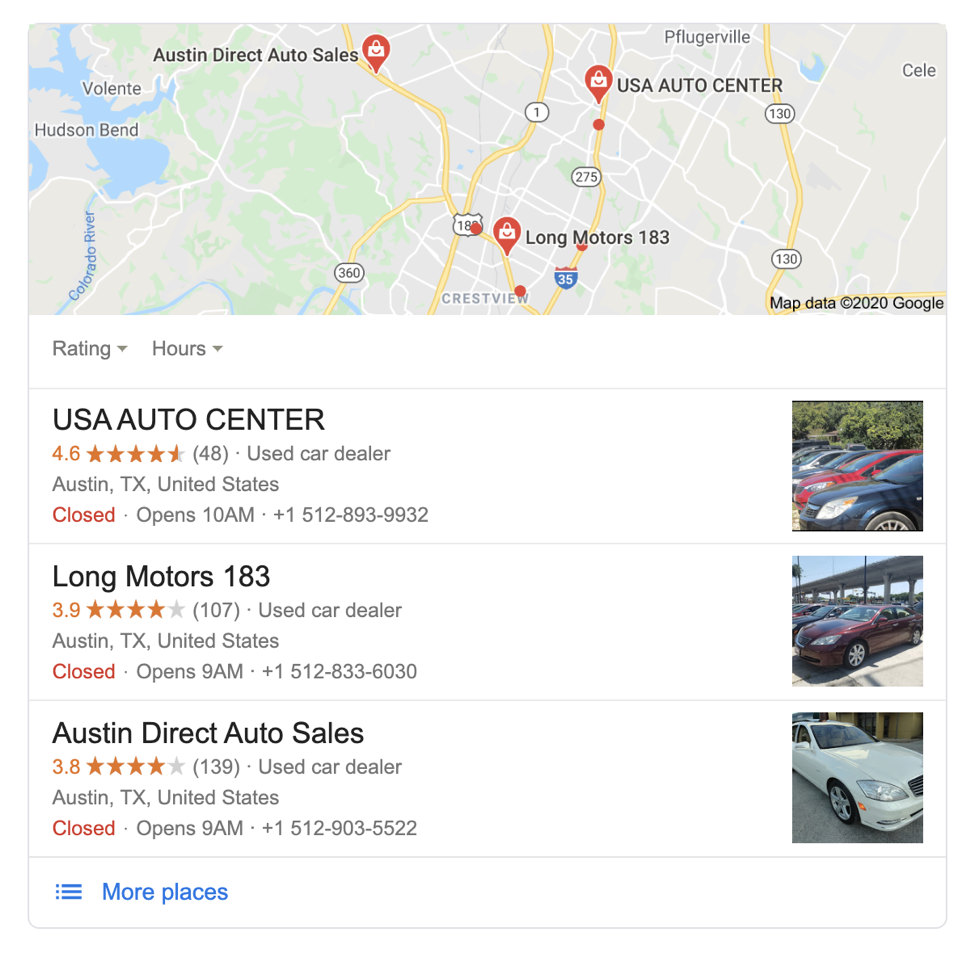 Google Maps listings in the SERPs