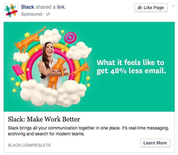 Example of social media ad from Slack