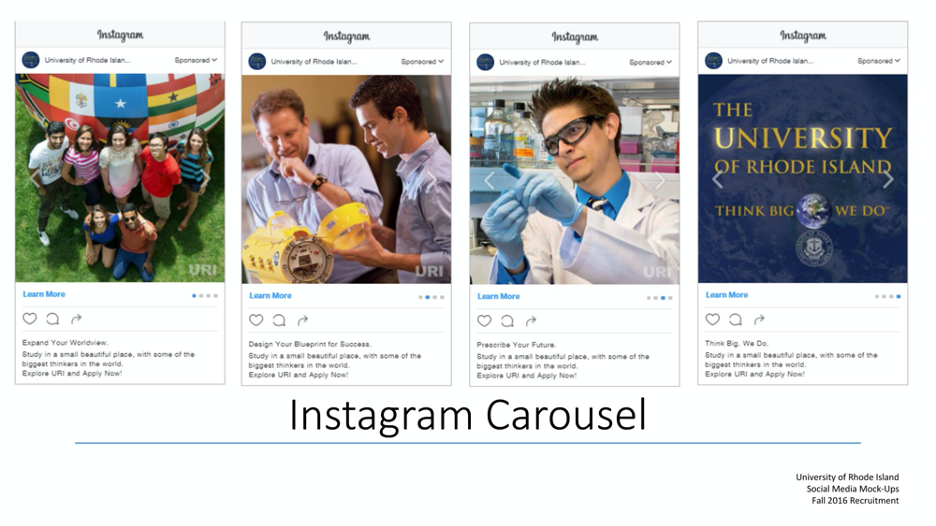 Example of higher education Instagram carousel ad