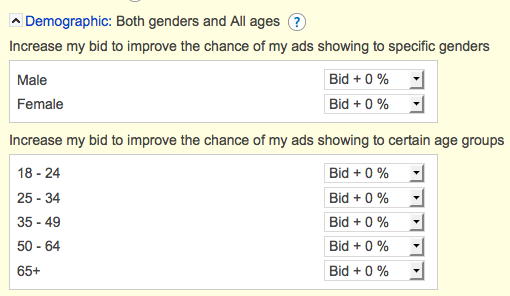 AdCenter Demographic Targeting Options
