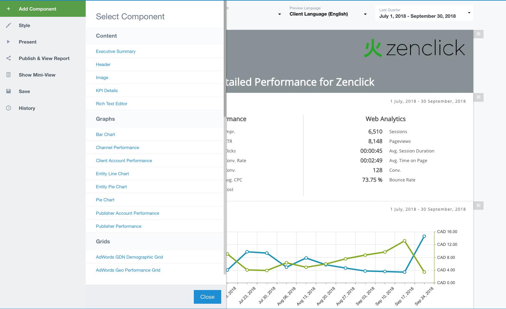 Pre-configured report templates