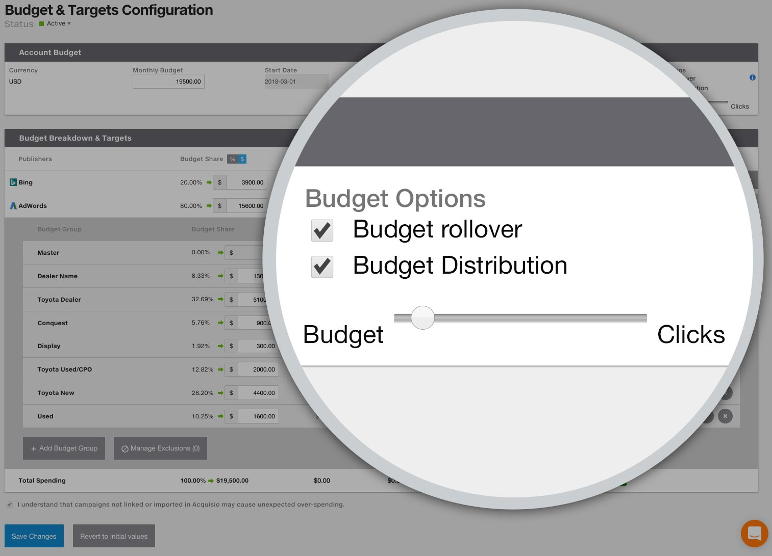 Budget Distribution slider towards budget
